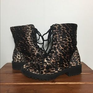 Madden Girl Leopard Print Lace/Zip Up Combat Boot